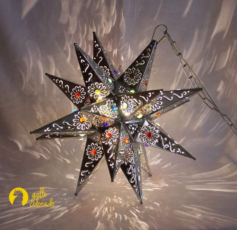 Natural Tin Star Light With Flower Cutouts And Colorful