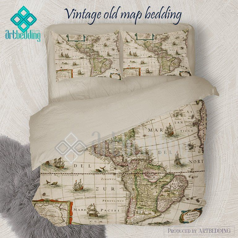 North and South America vintage map bedding, America old map ...