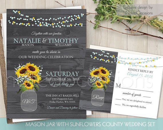 Cheap Sunflower Wedding Invitations: Sunflower Wedding Invitation Printable Mason Jar Rustic