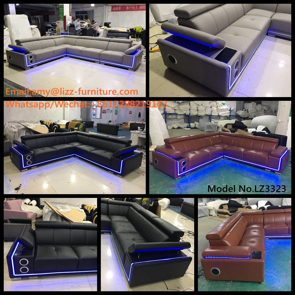 Sofa Upholstery Oman Latest Design Model 3323 Adjustable Headrest With Led Lights And