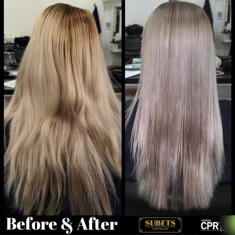 Before And After Highlift Using Cpr Colour Extra Light Ash