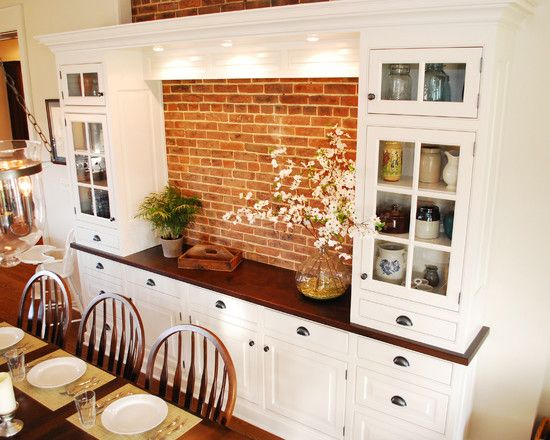 Built In Hutch Buffet With Brick Backsplash Dining Room