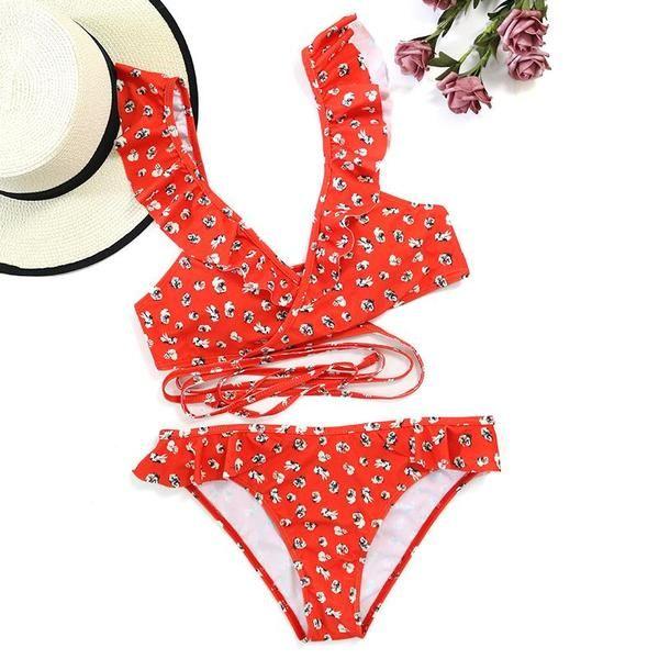 1c13b606a5 Beach Hot Red Floral Ruffled Bikini in 2019 | buddy wick | Bikinis ...