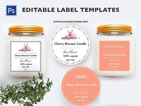 Jar Label Template | Custom Labels | Bath and Body Label | Candle ...