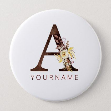 Floral Monogram A Rich Autumn Foliage Button | Zazzle.com #autumnfoliage