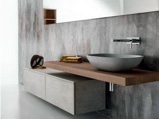 Mueble bajo lavabo suspendido de madera con cajones via for Altura de lavabo suspendido