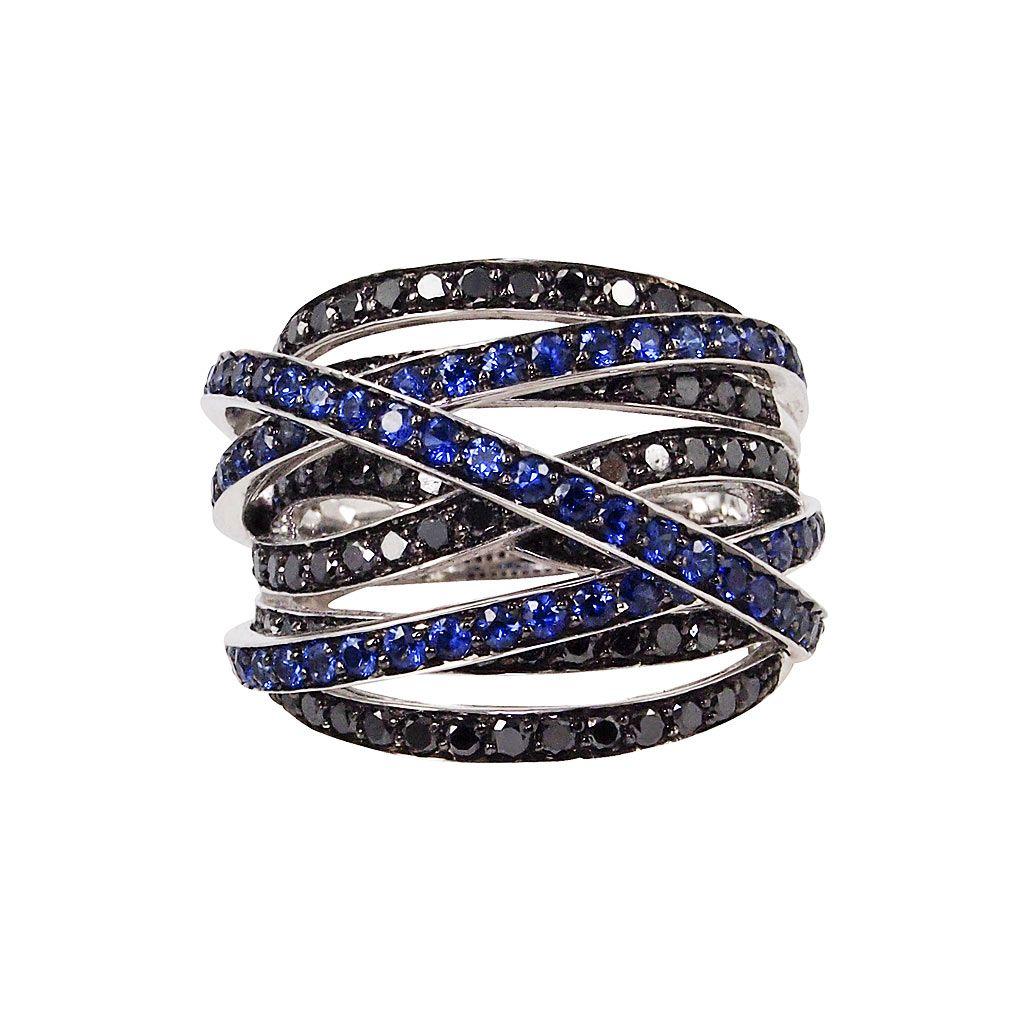 Blue Sapphire Luna Ring Sapphire Black Diamond & 18K White Gol