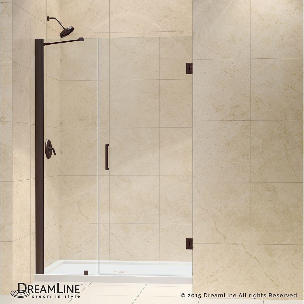 Unidoor 49 to 50-inch x 72-inch Frameless Hinged Pivot Shower Door ...