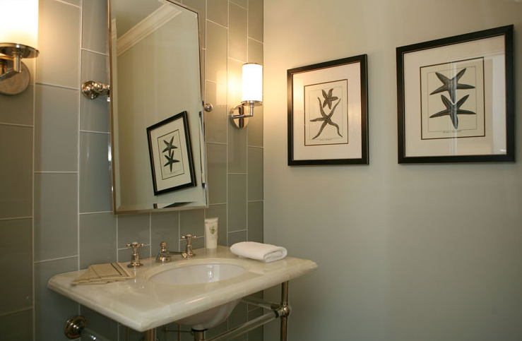 Giannetti home green blue powder room design with crema - Best paint color for crema marfil bathroom ...