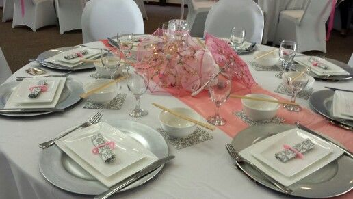 Pink And Silver Baby Shower Table Setting