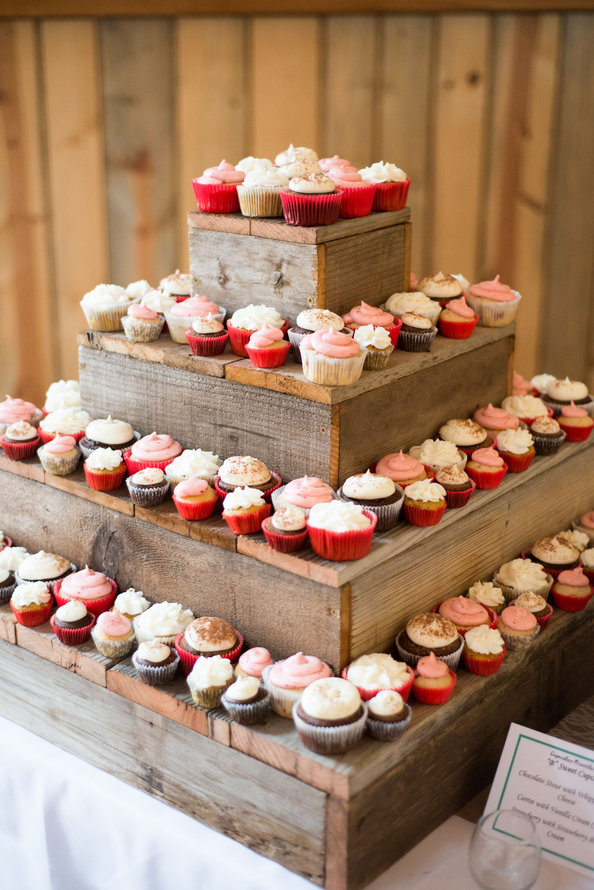 Diy barn wood cupcake stand dessert table cakes and such for Table familiale