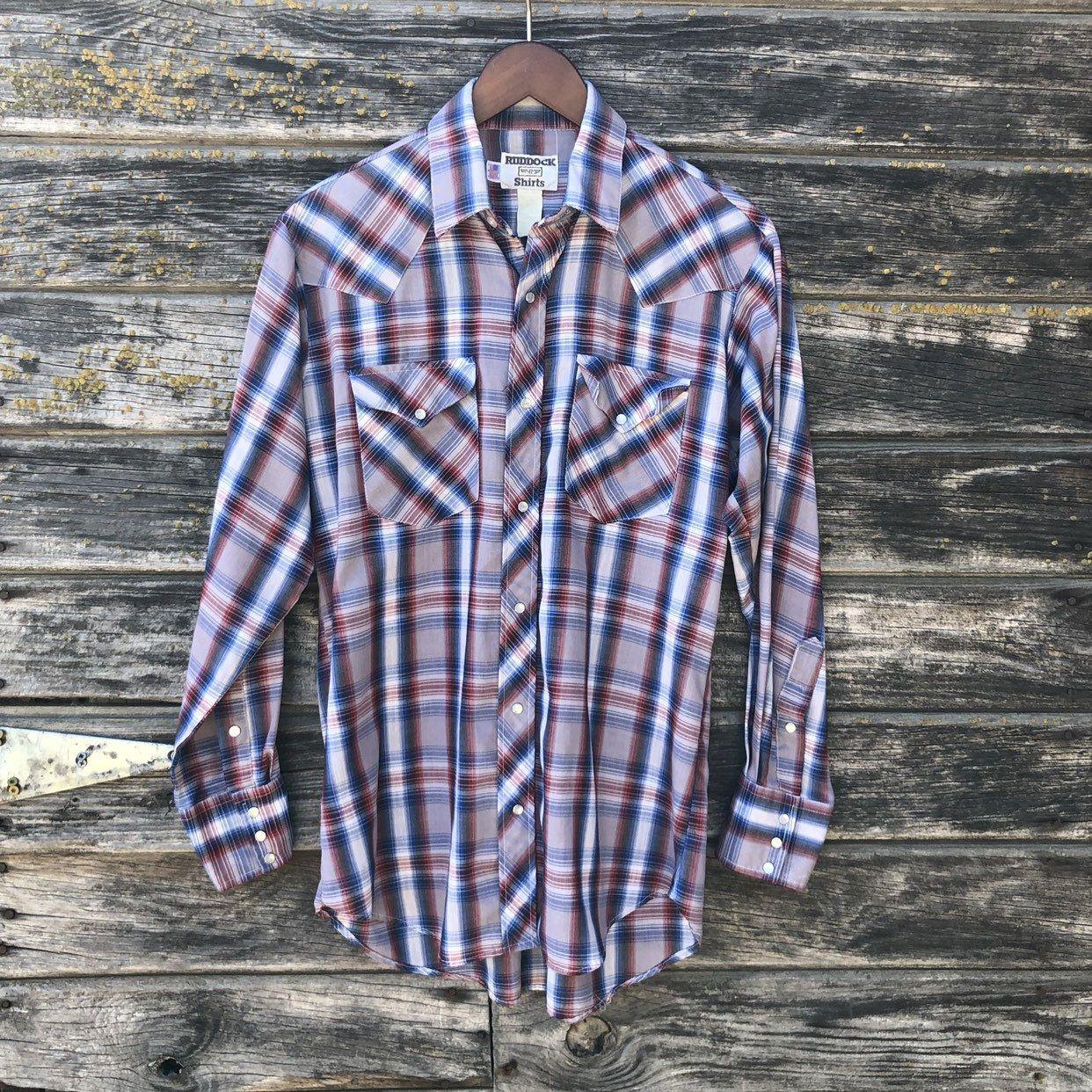 44388450 70s vintage western shirt men M 40