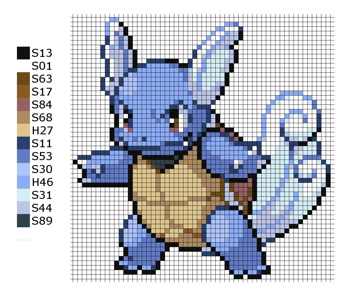 This is the pattern I used to make the Pokemon Wartortle. A = Artkal ...