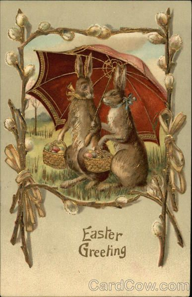 Easter Greeting - Two Brown Bunnies Under Large Umbrella Carrying Eggs in Baskets #largeumbrella