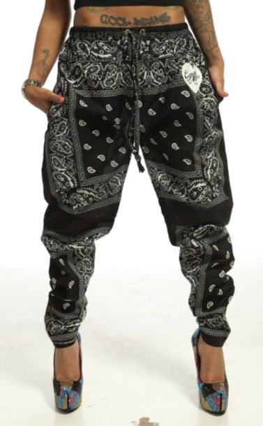8cdabfd710a35 Pants: trill, joggers, bandana, black, white, tattoos, swag, cupcake mafia,  mens wear, harem pants, bandana pants, bandana print, bandana jogger pants,  ...