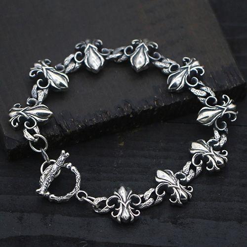Men S Sterling Silver Wide Fleur De Lis Bracelet