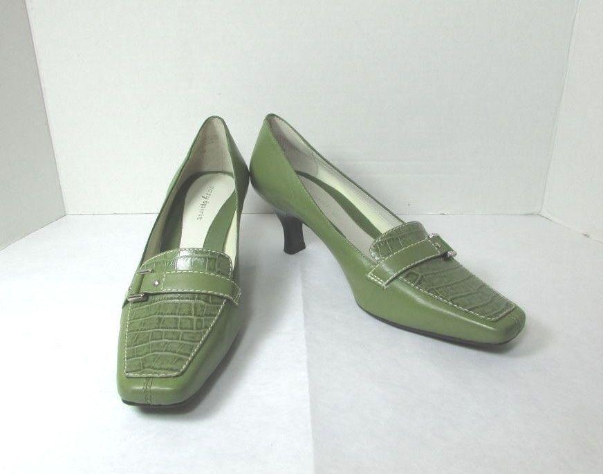 df47ccb43750 Easy Spirit Leather Green Croc Kitten Heel Pumps Size US 7 M  EasySpirit   PumpsClassics  Any