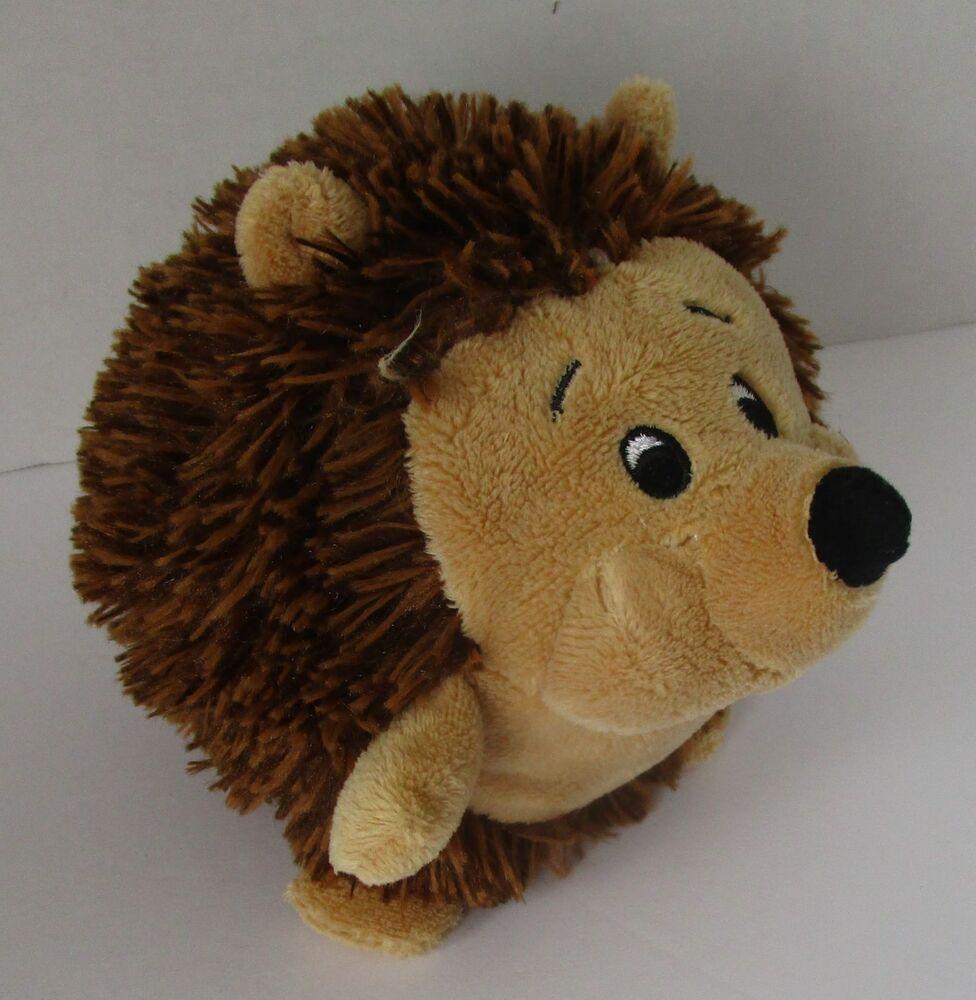 Hedgehog Plush Toy Mini 4 Stuffed Soft Brown Sewn Eyes Round Ball Pia Pia [ 1000 x 976 Pixel ]