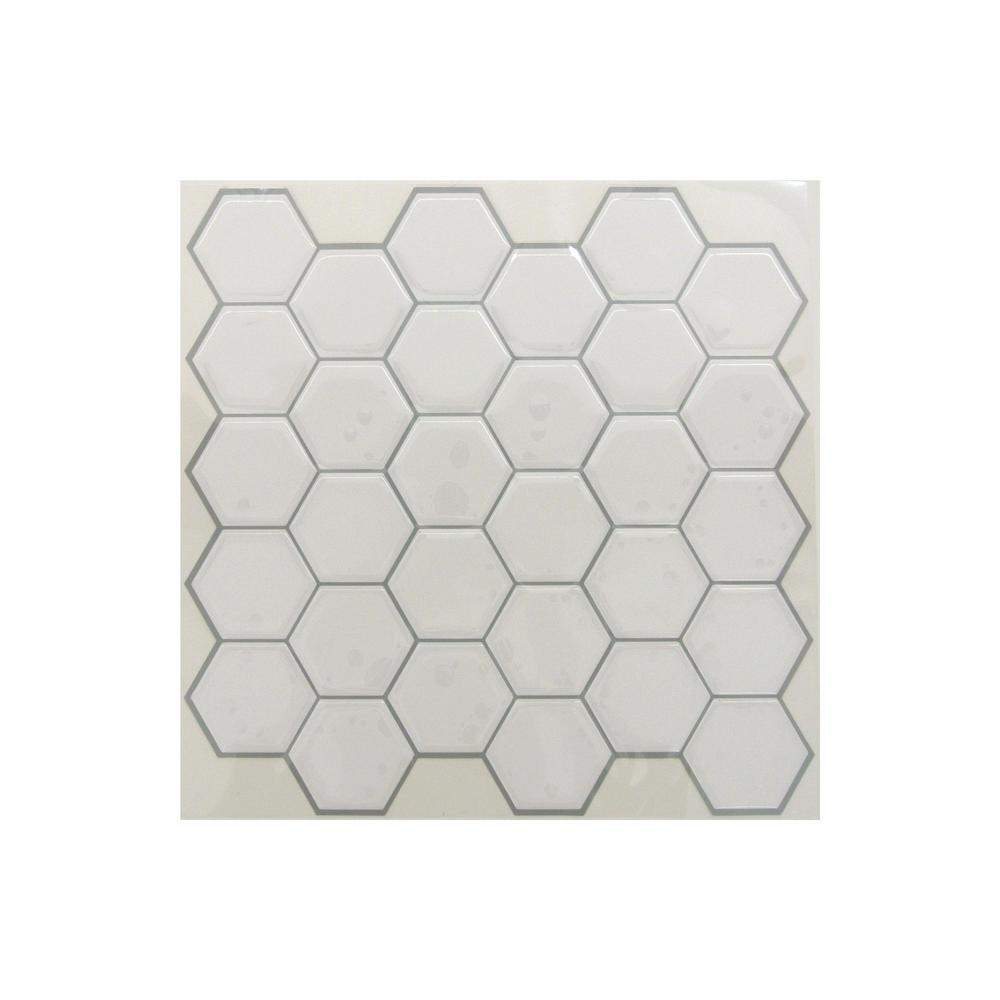 Sticktiles 10 5 In X 10 5 In White Hexagon Peel And Stick Tiles 4 Pack Til3458flt Stick On Tiles Peel Stick Tile Kitchen Backsplash Peel Stick
