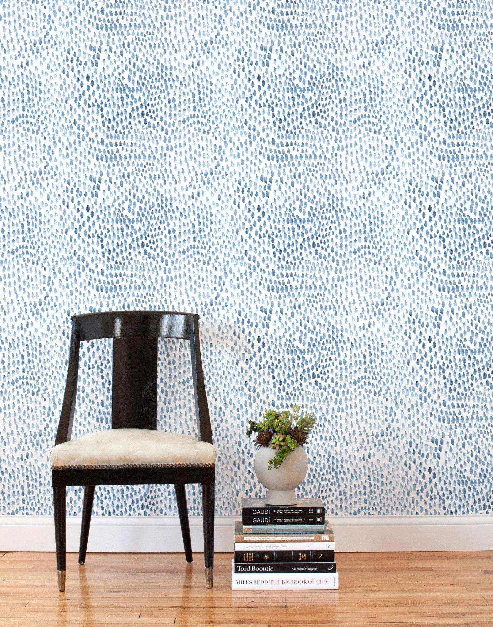 Raindrops Blue Gray Tiles Wallpaper And Tiles Grey Removable Wallpaper Removable Wallpaper
