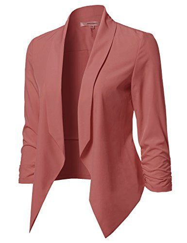 Women Floral Lightweight Open Front 3//4 Sleeve Jacket Work Suit Blazer  Small