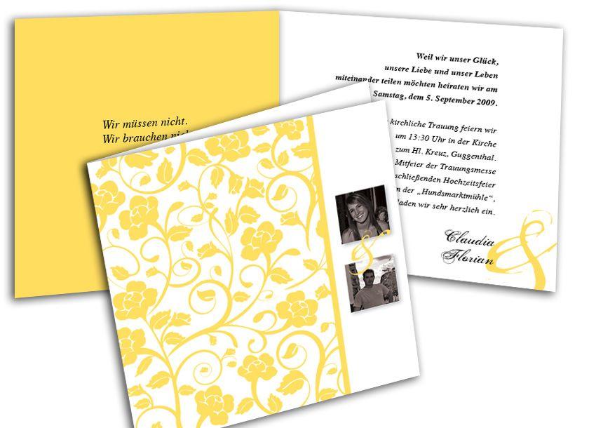 Foto Hochzeitskarte Wunderbare Ranken gelb