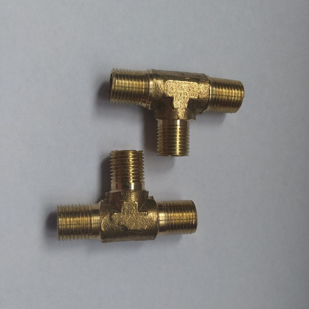 1BSP Female Thread Equal 3 Way T Shaped Tee Coupling Brass Pipe Adapter