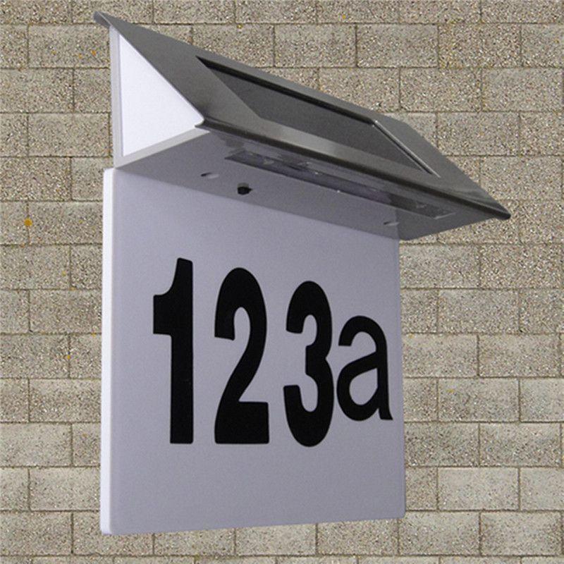 Nouvelle arrivée de haute qualité en acier inoxydable solaire 4LED numéro de la maison porte éclairée Wall Plaque lampe(China (Mainland))