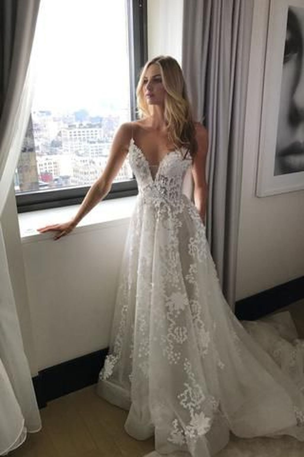 Awesome gorgeous v neck tulle wedding dress ideas more at