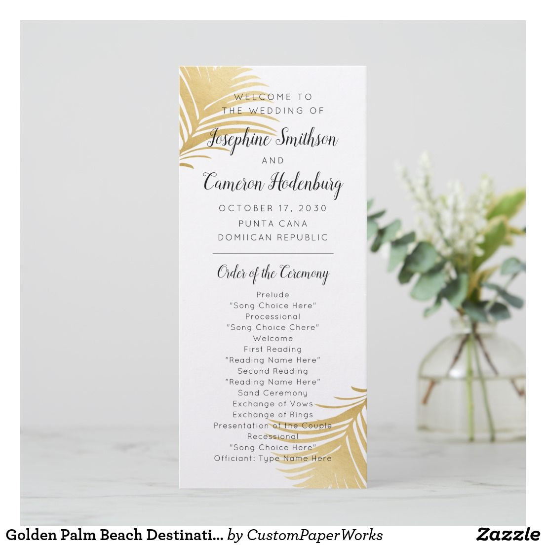 Beach Wedding Ceremony Processional: Glam Gold Palm Leaves Tropical Wedding Program