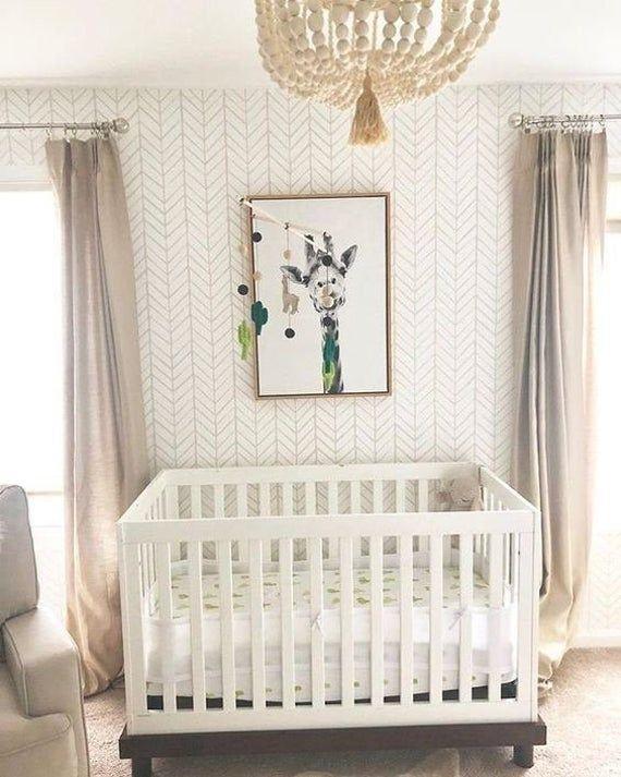 Chevron Wallpaper, Nursery Wallpaper, Removable Wallpaper, Kids Wallpaper, Peel and Stick Wallpaper,