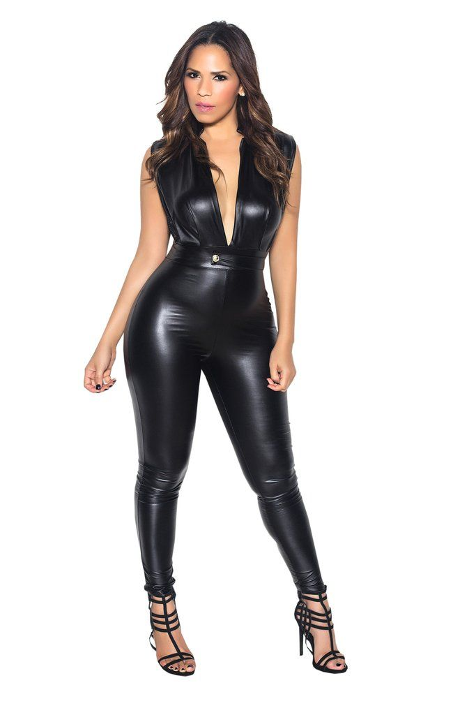 cc8993451332 Opt for a streamlined party gal look in this curve hugging jumpsuit! It  features a faux leather material