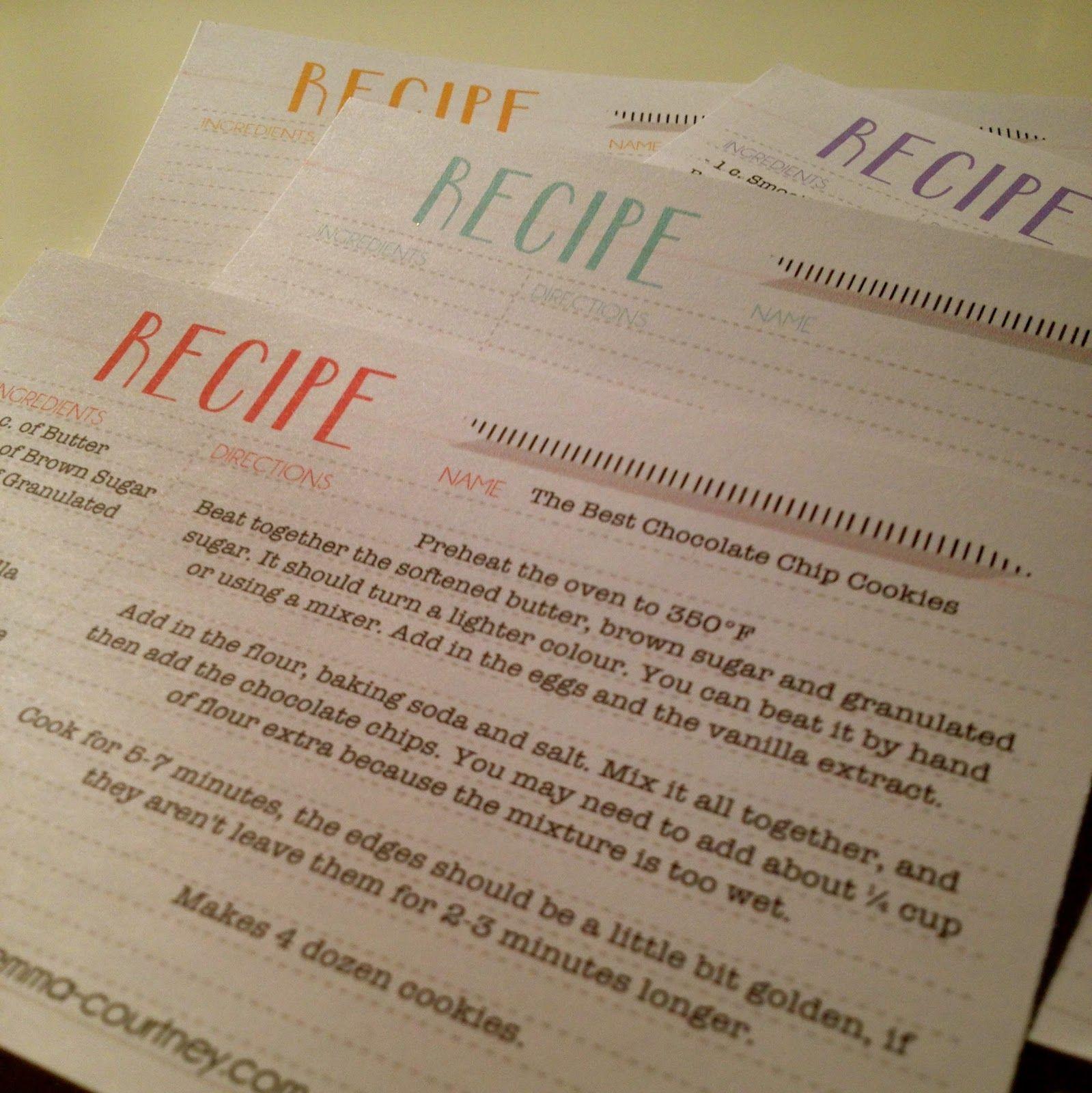Printables | Imprimibles y Recetas