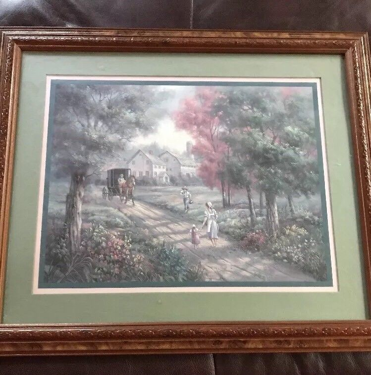 Home Interiors Picture Amish Farm Children Buggy Horse House Signed Carl Valente Homco Amish Farm Interior Pictures House Interior