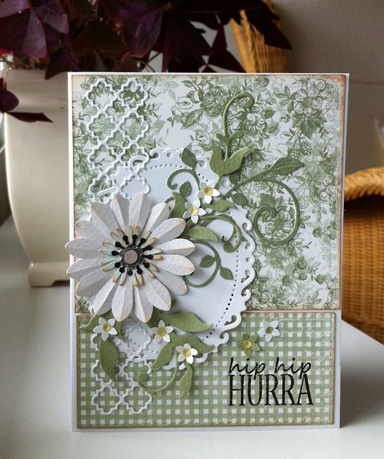 "Card with flower and flourish - Majadesign paper ""Life in the Country"" - maja design paper album - #majadesign"