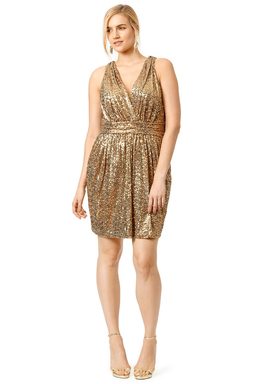 draped in gold dress | badgley mischka, gold and curvy