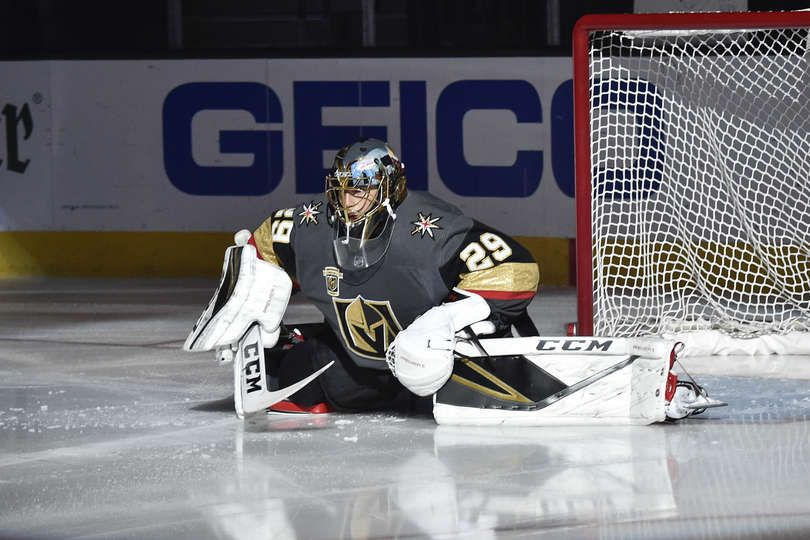 Las Vegas Nv April 13 Marc Andre Fleury 29 Of The Vegas Golden Knights Stretches Before Game Two Vegas Golden Knights Golden Knights Hockey Golden Knights