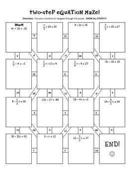 Two-Step Equations Notes & Maze Activity | Equations notes ...