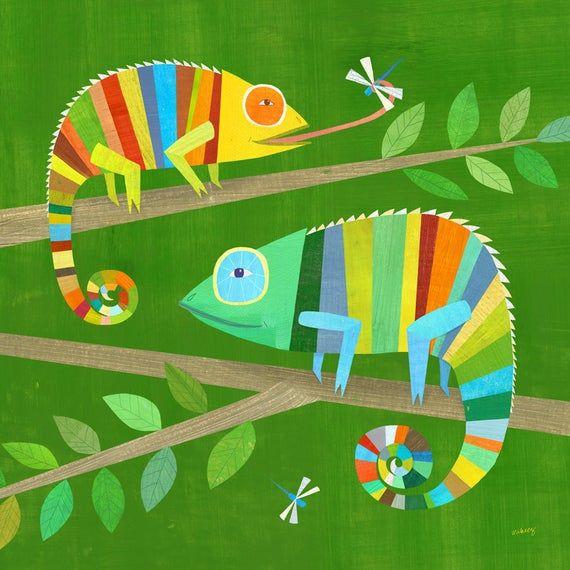Gestreifte Chamäleons | Giclée-Kunstdruck, Eidechse Illustration für jungen Zimmer oder Geschlecht neutral Kindergarten, Baby-Geschenk