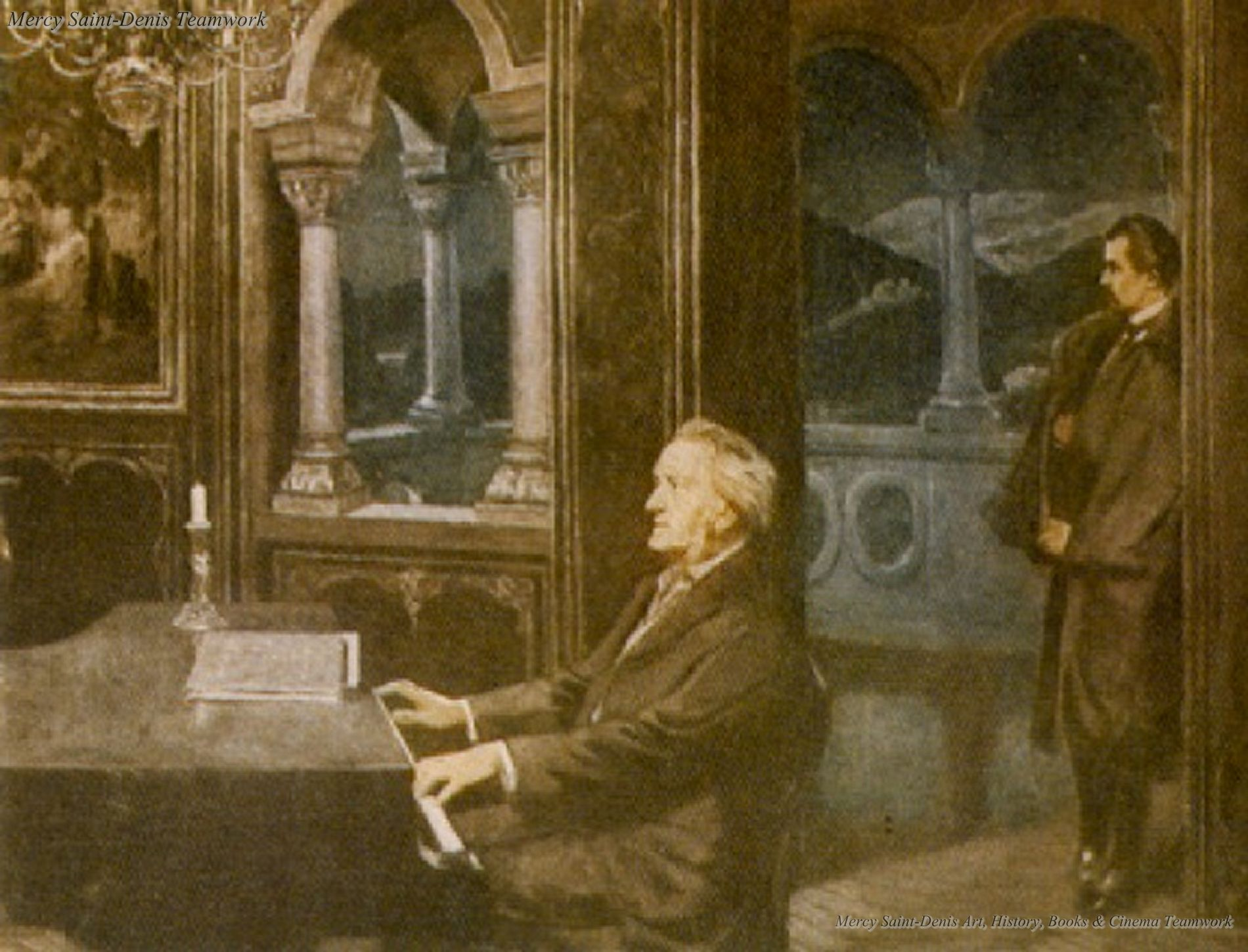 Ludwig II and Richard Wagner - Painting by Kurt von Roszinsky.