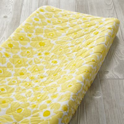 Go Lightly Changing Pad Cover (Yellow Floral)  | The Land of Nod
