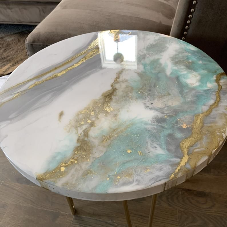 """Gold White and Mint Side Table in Resin 20"""""""