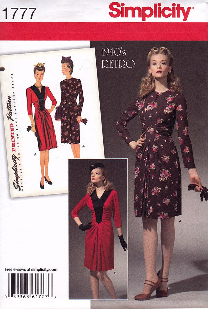 Simplicity 1777: 1940s Repro Vintage Sewing Pattern: Ruched Dress