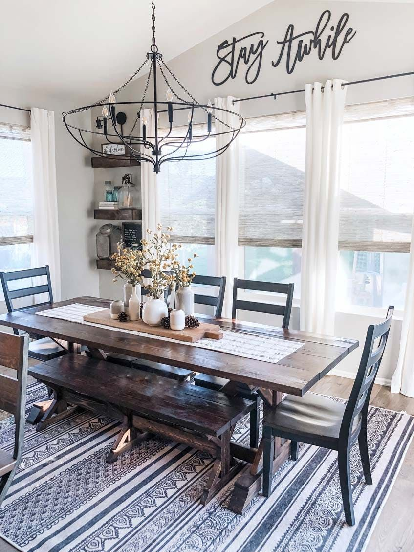 Modern Farmhouse Home Gets Tons Of Natural Light With New Shades Blinds Com Modern Farmhouse Dining Room Modern Farmhouse Dining Dining Room Window Treatments