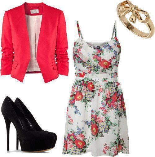 Floral dress and magenta blazer