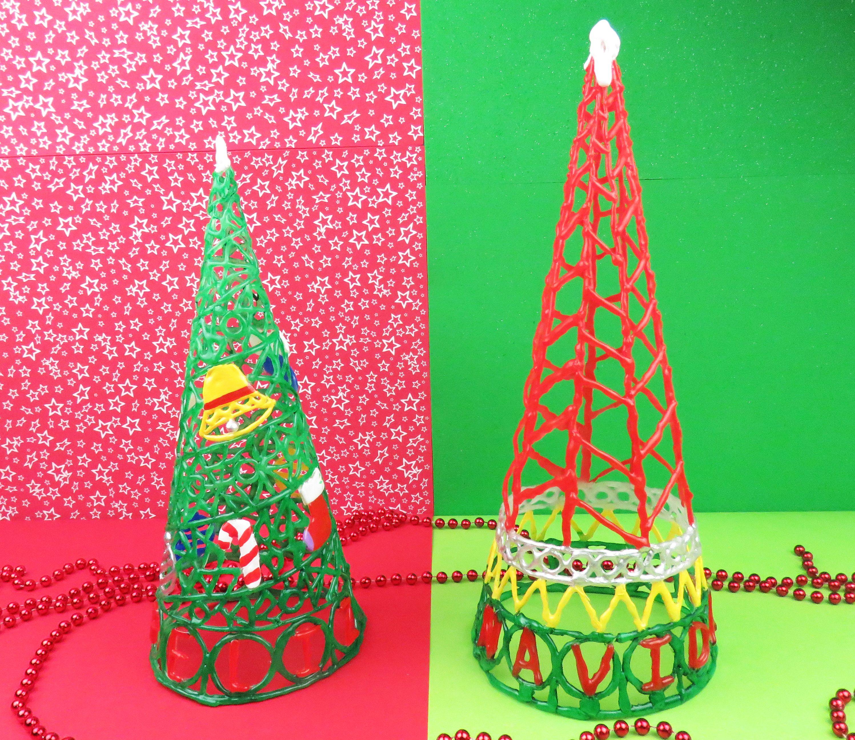 Arboles de navidad con silicona caliente manualidades - Arboles de navidad manualidades navidenas ...