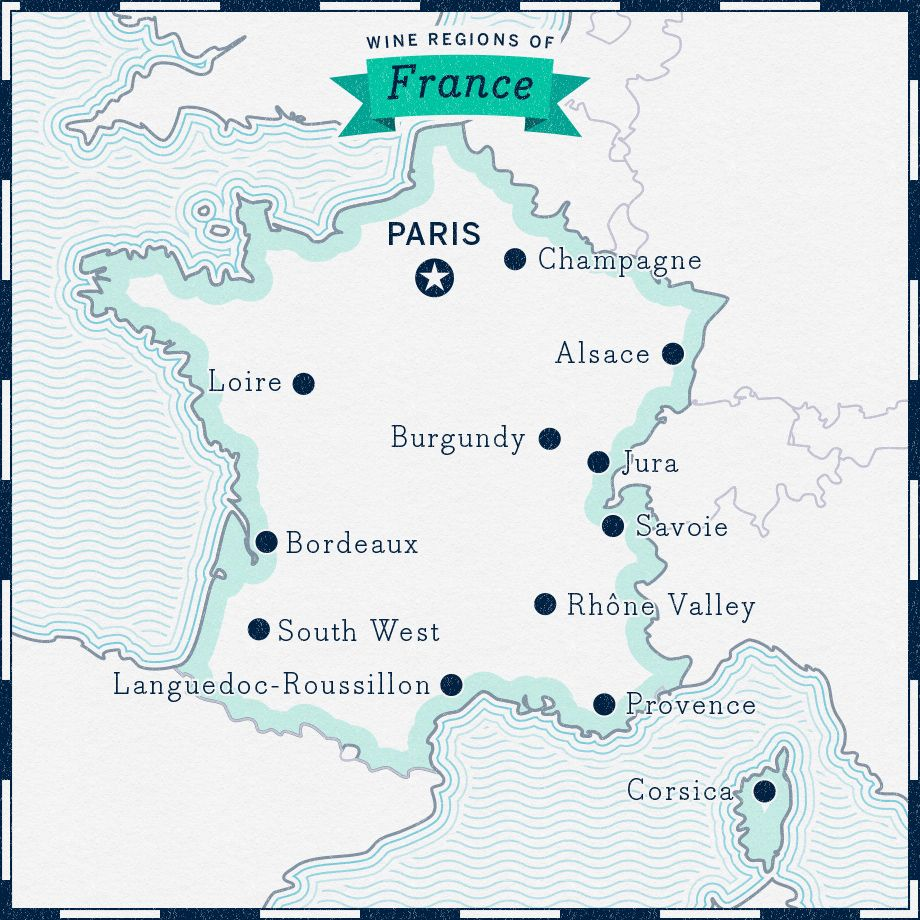 Overview of wine regions of France map France wine
