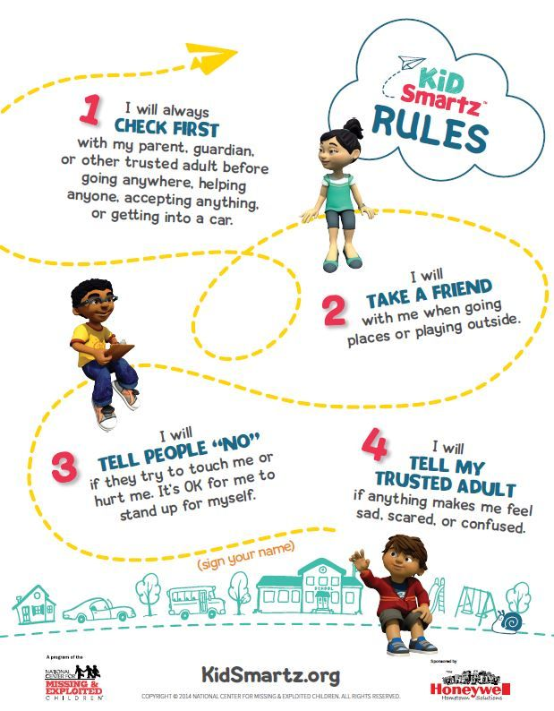 Safety Pledge Kidsmartz 4 Rules Of Safety Abduction Prevention Child Safety Child Abduction Kids Personal Fire Safety For Kids