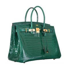 466b4434a8 GOLD HARDWARE ! HERMES BIRKIN BAG 35cm EMERALD GREEN CROCODILE (VERT ...