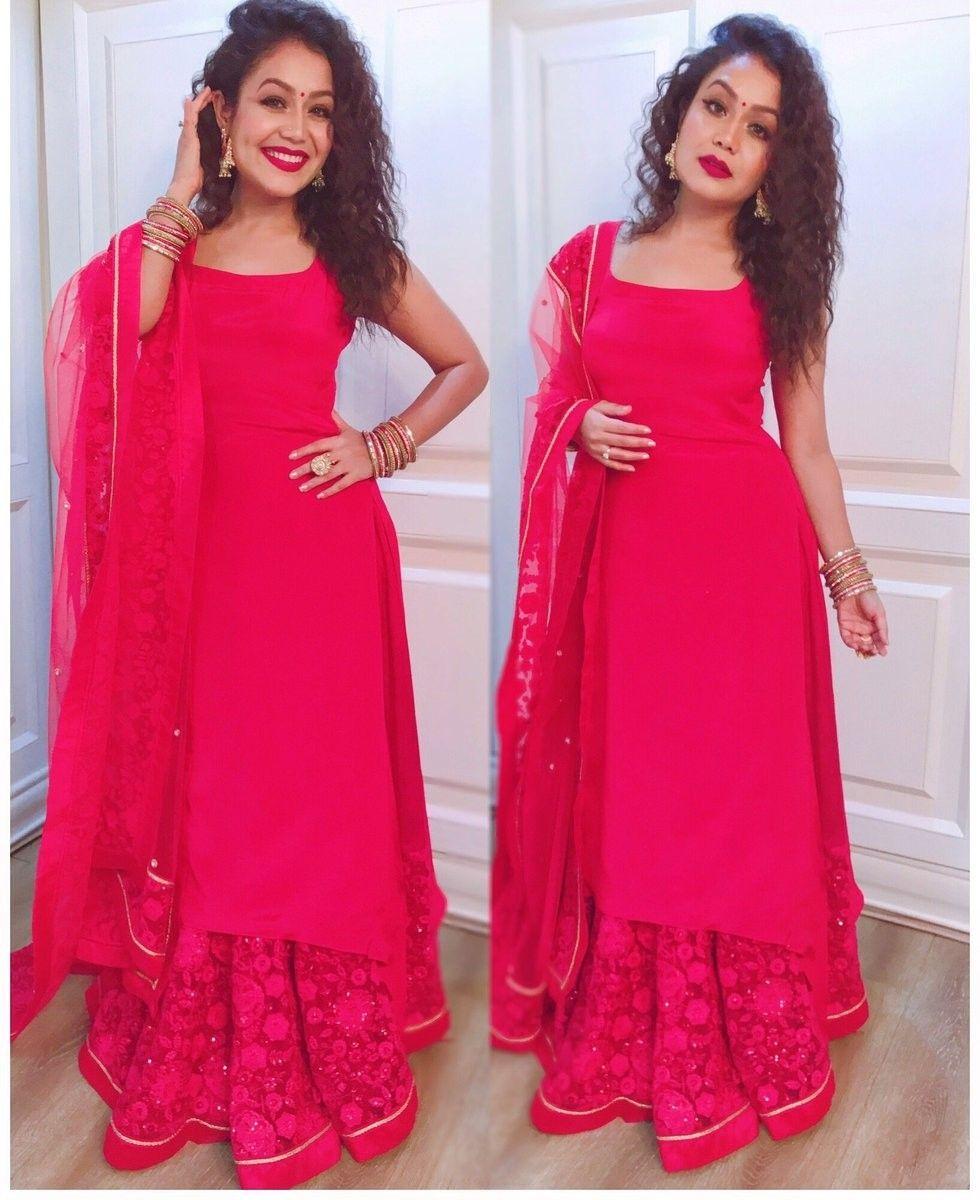 Neha Kakkar In Pink Lehenga Suit Neha Kakkar Style Lehenga Choli Braso Silk Lehenga C Neha Kakkar Dresses Indian Designer Outfits Designer Party Wear Dresses